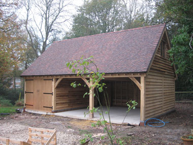3 bay oak framed garage Devon