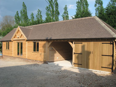 Oak framed garage and games room Devon