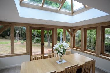 Oak framed garden room Devon